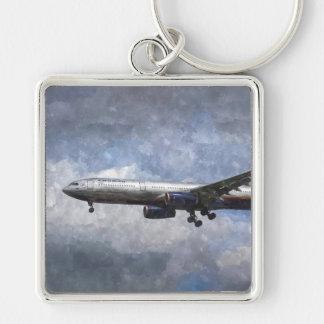 Aeroflot Airbus A330 Art Silver-Colored Square Key Ring