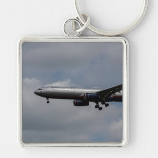 Aeroflot Airbus A330 Silver-Colored Square Key Ring