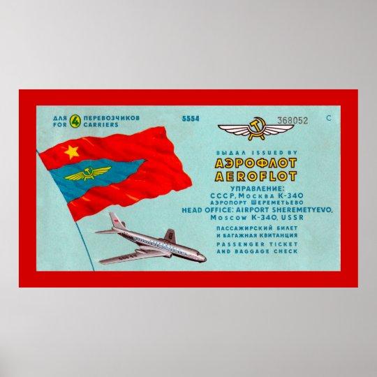 Aeroflot Passenger Ticket Poster