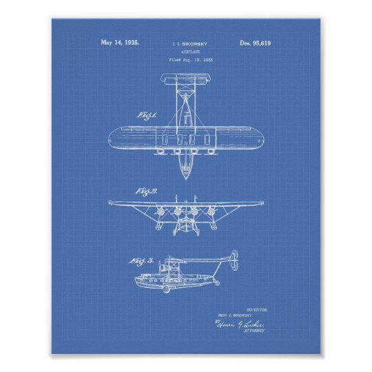 Aeroplane 1935 Patent Art Blueprint Poster