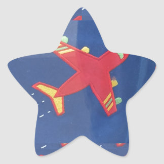 Aeroplane Aircraft Flight Travel Picnic Holidays Star Sticker