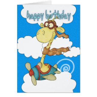 Aeroplane Airplane Giraffe Birthday Card - Child
