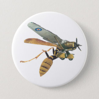 Aeroplane and Wasp Military 7.5 Cm Round Badge