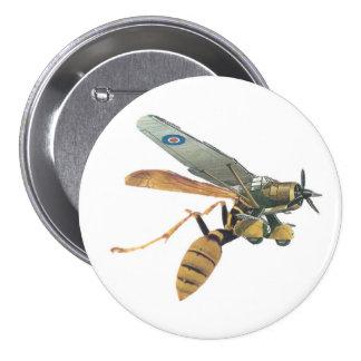 Aeroplane and Wasp Military 7.5 Cm Round Badge