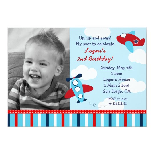 Aeroplane Aviator Boy Photo Birthday Invitations