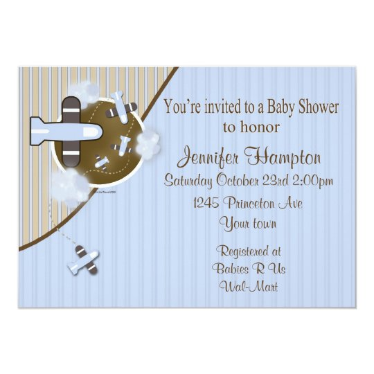 Aeroplane Baby Shower Invitation