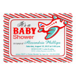 Aeroplane Baby Shower | red teal 13 Cm X 18 Cm Invitation Card