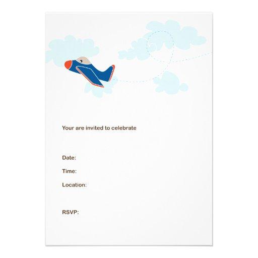 AEROPLANE BIRTHDAY INVITATIONS - Navy