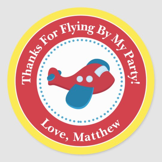Aeroplane Birthday Party Favour Stickers