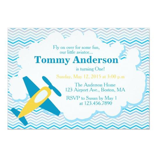 Aeroplane Birthday Party Invitation Chevron