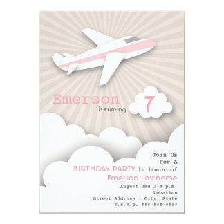 Aeroplane Birthday Party Invitation - Pink