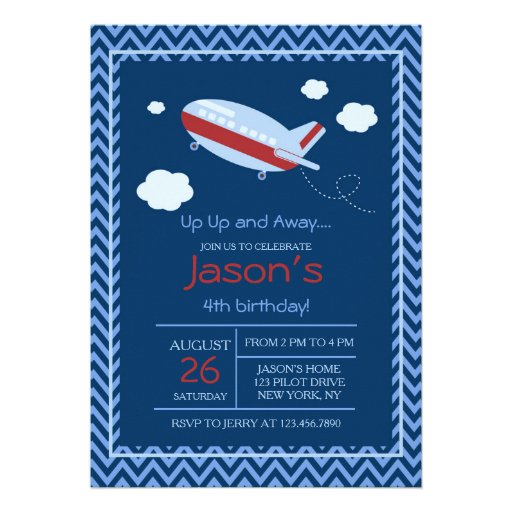 Aeroplane Birthday Party Invitation Red and Blue