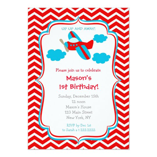 Aeroplane Birthday Party Invitations