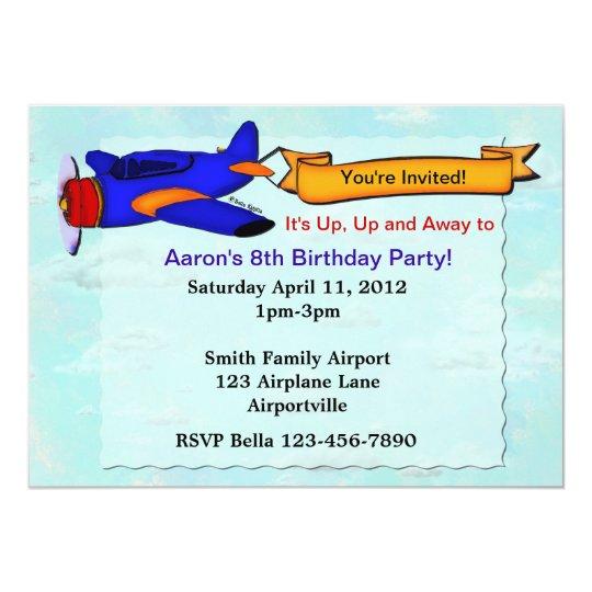 Aeroplane Birthday Party Personalised Invite