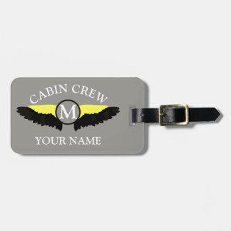 Aeroplane cabin crew luggage tag