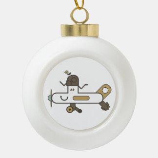 Aeroplane Ceramic Ball Christmas Ornament