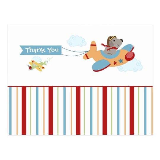 Aeroplane dog pilot boy's thank you postcard
