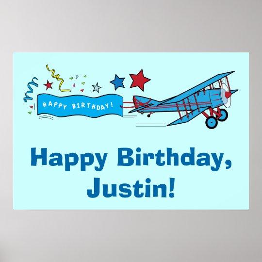 Aeroplane Happy Birthday Name Customisable Poster
