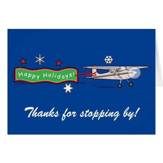 Aeroplane Happy Holidays Thank You Card