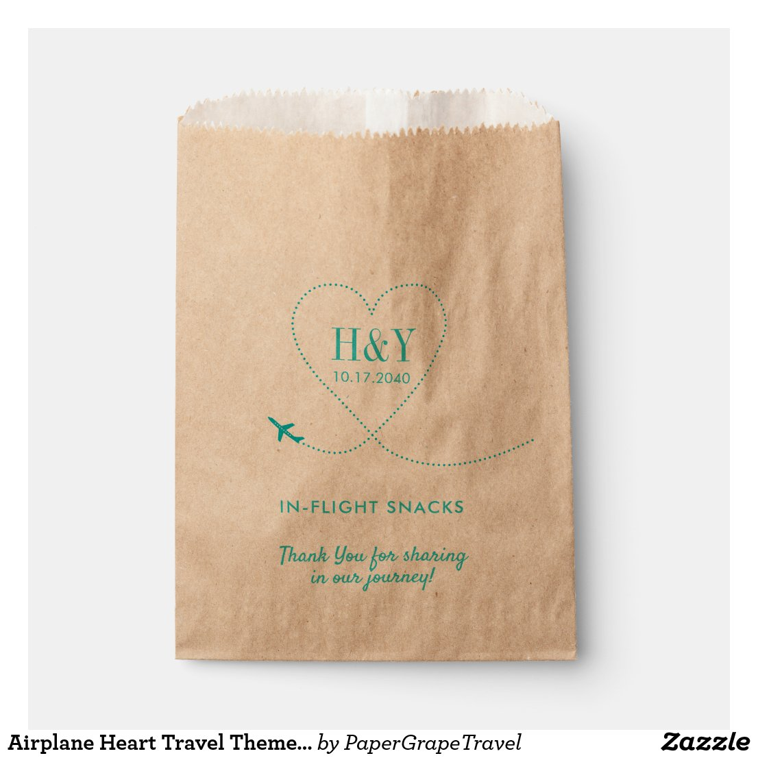 Aeroplane Heart Travel Theme Treat Snack Goody Favour Bags