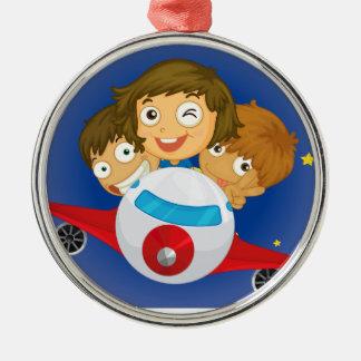 Aeroplane kids Silver-Colored round ornament