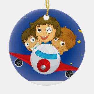 Aeroplane kids round ceramic decoration