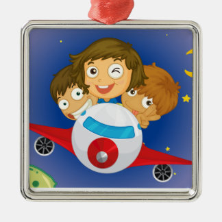Aeroplane kids square metal christmas ornament