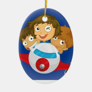 Aeroplane kids ceramic oval ornament
