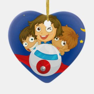 Aeroplane kids ceramic heart ornament