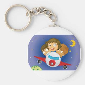 Aeroplane kids basic round button keychain