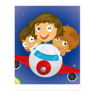 Aeroplane kids postcard