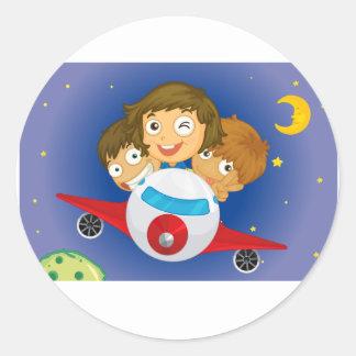 Aeroplane kids round sticker