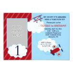 Aeroplane Little Aviator Red & Navy Photo Birthday Personalised Invitation