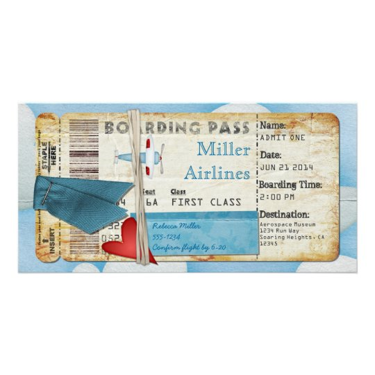 Aeroplane Party Boarding Pass Customised Photo Card