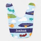 Aeroplane Personalised Boy's Baby Bib