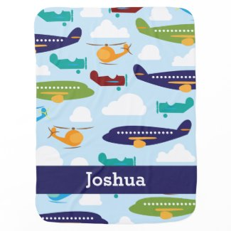Aeroplane Personalised Boy's Baby Blanket