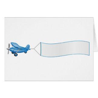 Aeroplane pulling banner greeting card