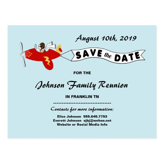 Aeroplane Sky Banner Family Reunion Save the Date