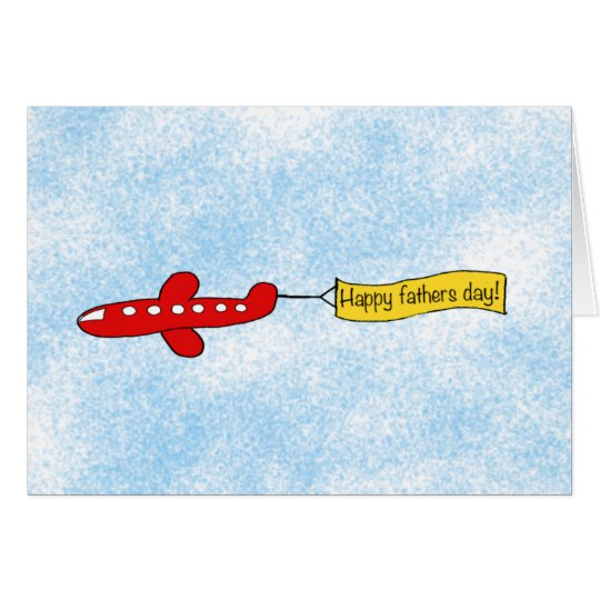 Aeroplane sky banner 'Happy Fathers Day' Cartoon Card