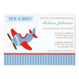Aeroplane Stripes Red Blue Boy Baby Shower 13 Cm X 18 Cm Invitation Card