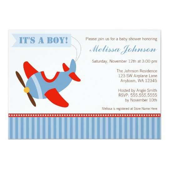 Aeroplane Stripes Red Blue Boy Baby Shower Card