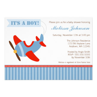 Aeroplane Stripes Red Blue Boy Baby Shower Personalised Announcement