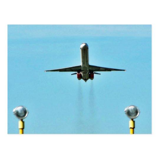 Aeroplane Taking Off On Airport Postcard