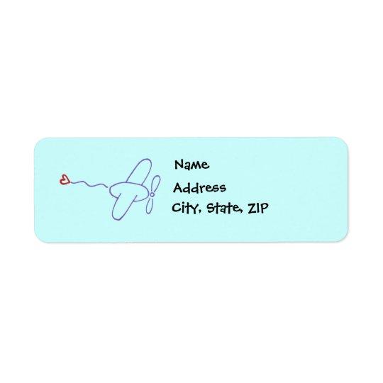 Aeroplane with Heart Return Address Label