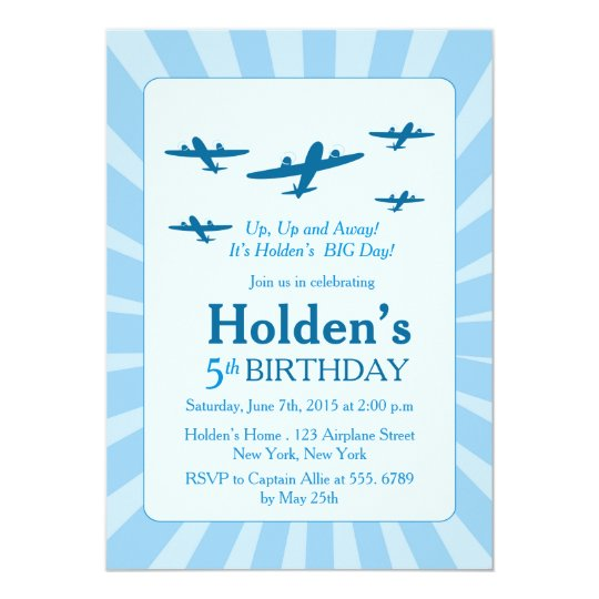 Aeroplanes Birthday party Invitations