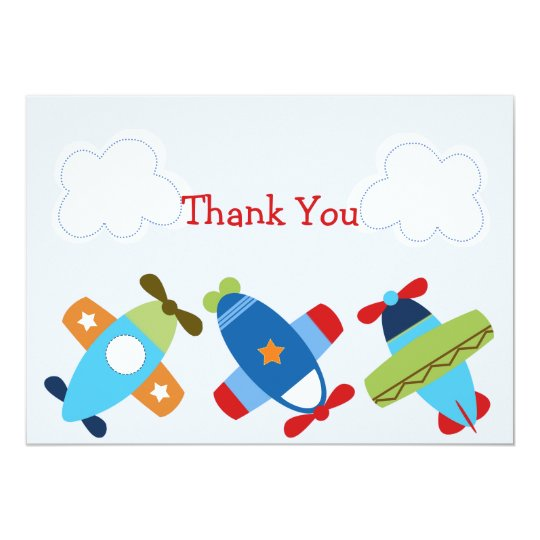 Aeroplanes Taking Flight Baby Shower Thank you Card