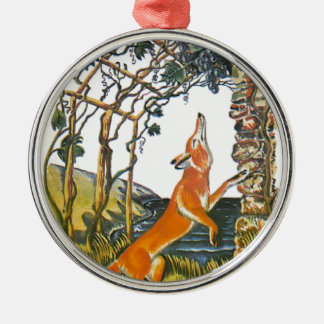 Aesop's fables, the fox and the grapes Silver-Colored round decoration