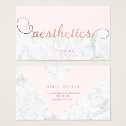 Aesthetics colour block rose gold typography business card