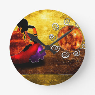 af002 Africa retro vintage style gifts Round Clock