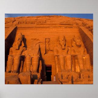AF, Egypt, Abu Simbel. Facade at sunset, Great Poster